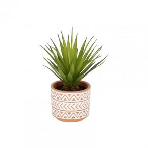 Planta artificial Palmera pequeña con maceta de cerámica marrón y blanco 13 cm