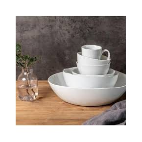 Set 12 taza 15cm Porcelino White